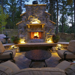 lighted outdoor living area