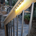 lighted outdoor railing
