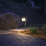 outdoor lighting along path