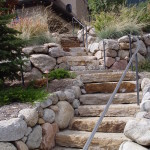 stone landscaping with handrail