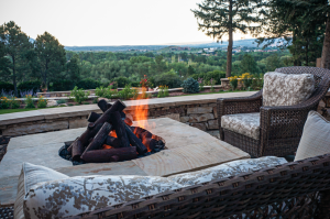 Fire pit with logs