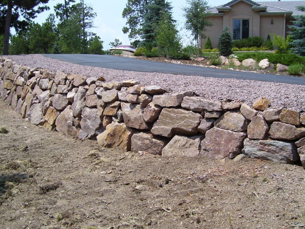 Granite Stone Walls : Granite retaining wall stone colorado springs
