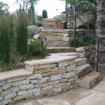 stone landscaping Siloam Stepped patio Seating Wall