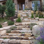 stone landscaping with Wide Entry Steps