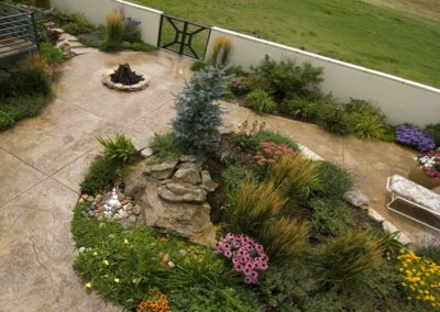 Stamped Concrete | Water Feature | Stucco Wall