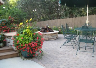 Fire Pit | Pavers | Flowers