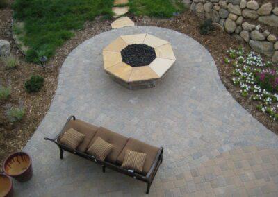 Octagonal Fire Pit Paver Patio