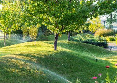 Sprinkler system watering a park in Colorado Springs